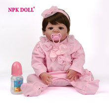 NPKDOLL 55 cm Baby Dolls Realistic bebes reborn silicone Girls toys Lifelike Newborn Baby dolls toys for children drop shipping(China)