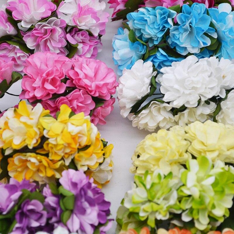 72Pcs/lot 3CM Artificial Paper Flowers Chrysanthemum Flower Bouquet Wedding Party Decoration DIY Scrapbooking Wreath Fake Flower