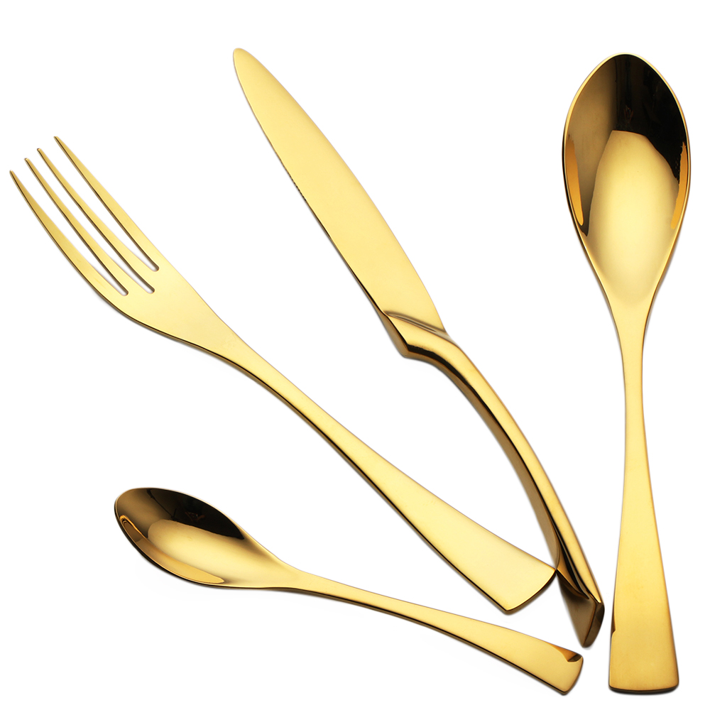 4Pcs Lot 18 10 Stainless Steel Gold Cutlery Set Dinner Forks Knives Scoops Set Tableware Set