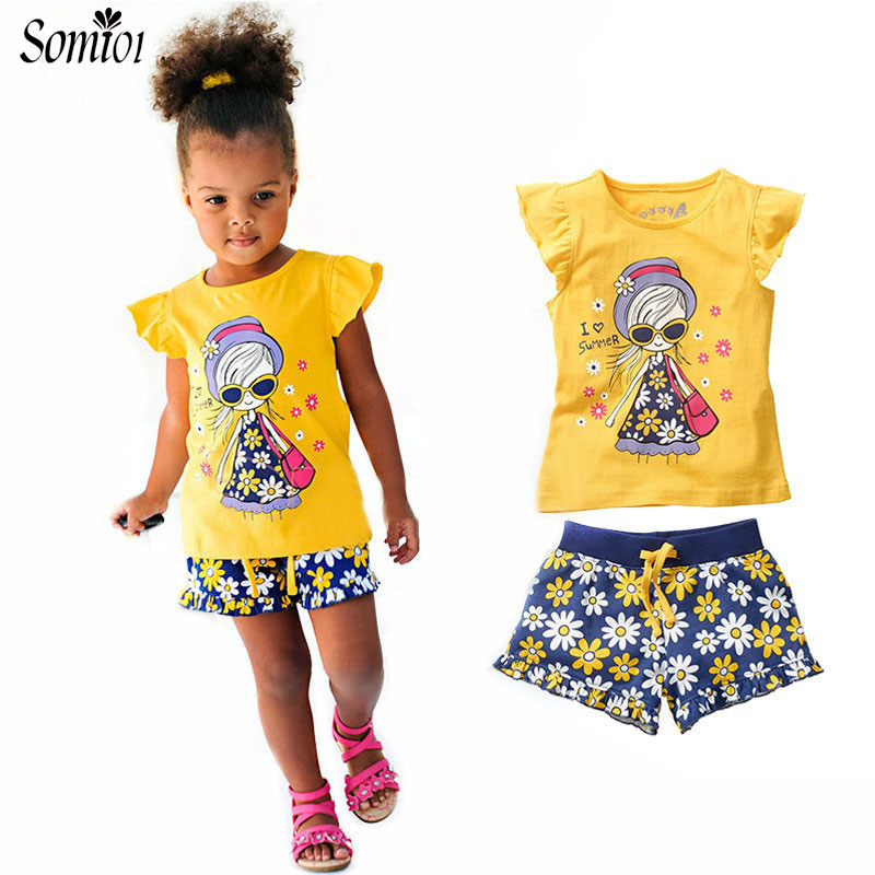 Girls Summer Casual Clothes Sets Children Short Sleeve Cartoon T-shirt + Small Floral Shorts Pants Sport Suits Kids 2 3 5 7 Year