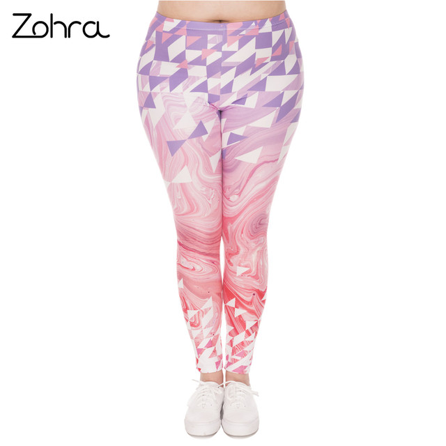 Large Size Leggings Triangles Pink Marble Printed Leggins Plus Size Trousers Stretch Pants For Plump Women