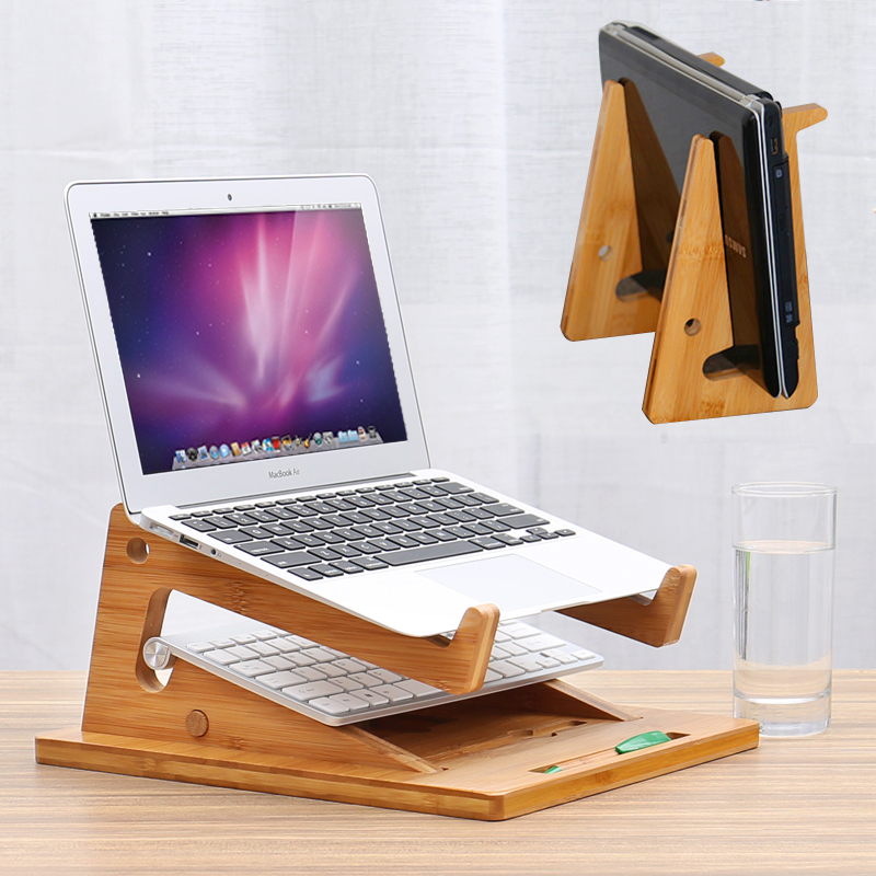 portable bamboo laptop stand vertical dock assembled modern folding wooden desktop stand for macbook air or profor ipadtablet