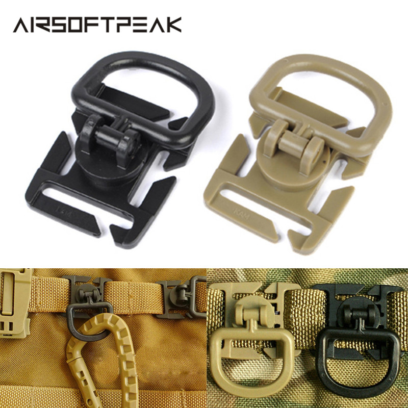 2pcs/Lot 360 Degree D-ring Buckle Tactical Outdoor Clips Molle Web Attachment For Backpack Vest Bags Belt Hunting Accessories