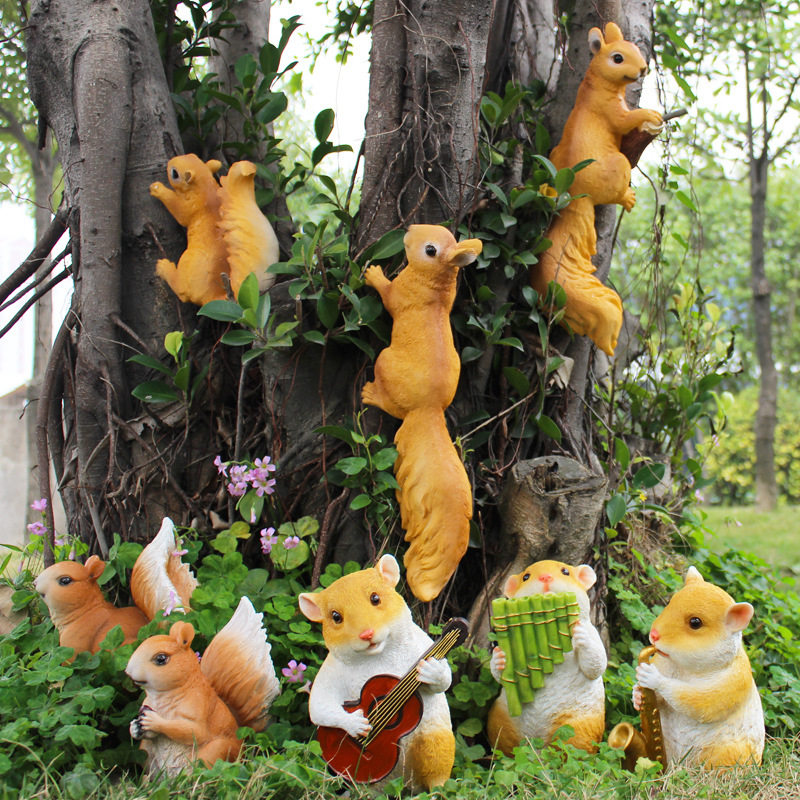 Outdoor Gardening Simulation Animal Crafts Resin Small Squirrel Ornaments Garden Courtyard Decoration Park Villa Furnishing Art