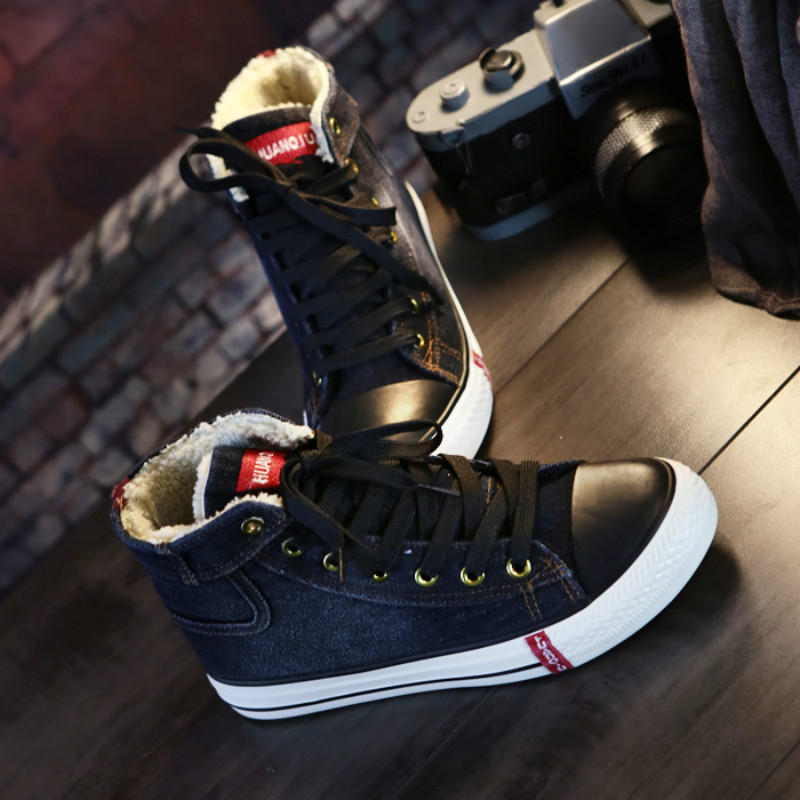 Special Offer Clearance Sale Women Sneakers Winter Fur Lining Denim Cloth Lady Canvas Shoe Lace Up Ankle High High Quality 36-40