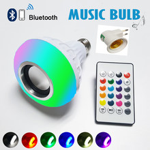 E27 Led-lampe Drahtlose Bluetooth Lautsprecher Birne Musik Spielen Dimmbare Led Lampe bombillas Led24 Keys Fernbedienung + eu-stecker(China)