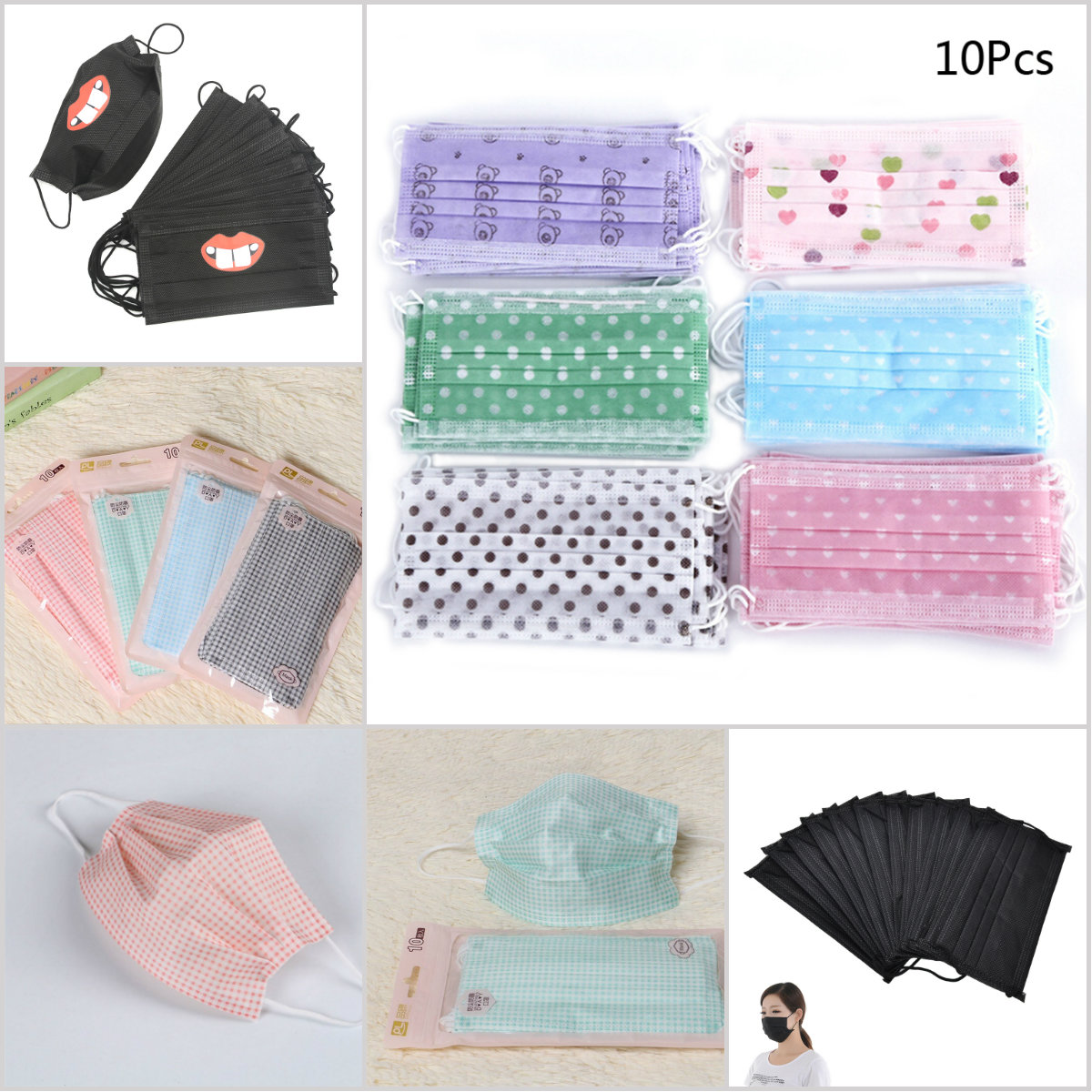 10 Pcs/lot Hot Dental Disposable Medical Anti Flu Dust Mouth Surgical Face Mask Respirator Nonwoven Random Colors