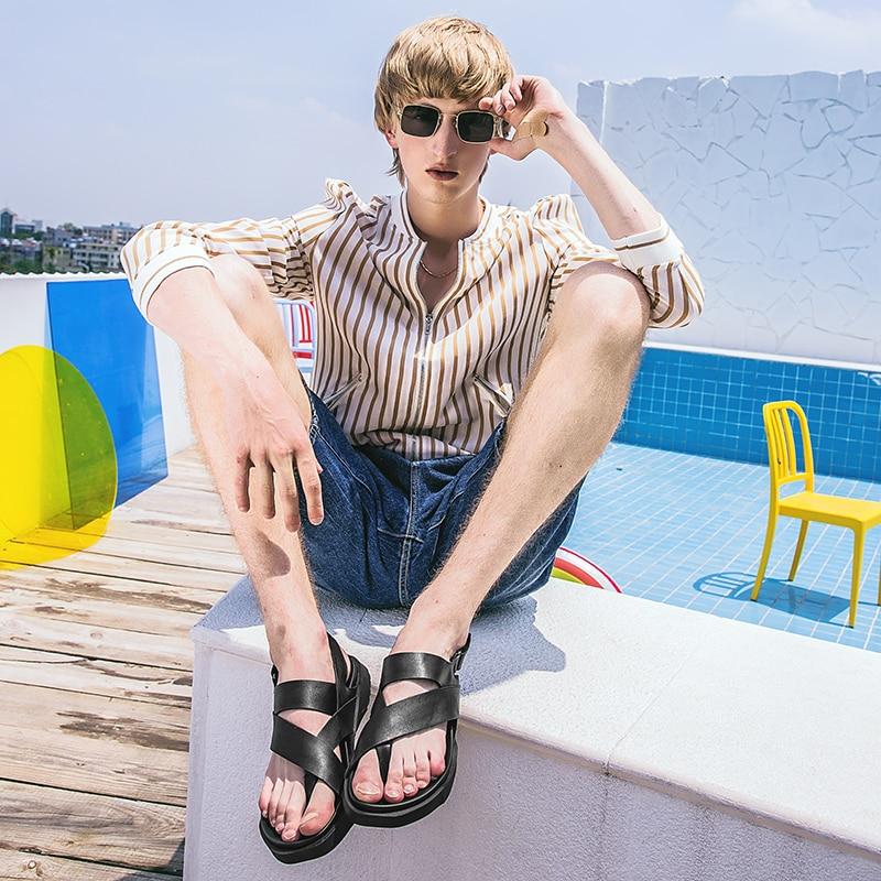 Skid permeável Na Personalidade Preto À Britânico Sandálias Prova Moda grosso Ar Mens Opentoed Lazer sola Couro Sapatos Roman De Verão BZB7qgxF