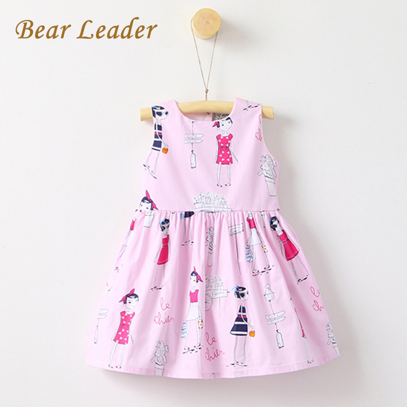Bear Leader Girls Dresses 2017 New Summer Style Sleeveless Children Clothes Print Design Cute Ball Gown for Baby Girl Dress 3-7Y children dresses 2017 summer fashion style girls lace princess dress kids sleeveless embroidery cute clothes dress for 3 7y