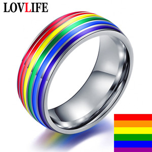 Men Women Rainbow Gay Ring Colorful LGBT Homosexual Couple Rings Stainless Steel Wedding Band Lebian & Gay Rings Drop Shipping(China)
