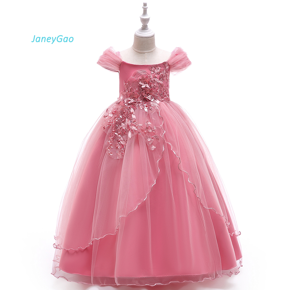 JaneyGao   Flower     Girl     Dresses   For Wedding Party With Cap Sleeves Floor Length Tulle Teenage   Girl   First Communion   Dresses   2019 New
