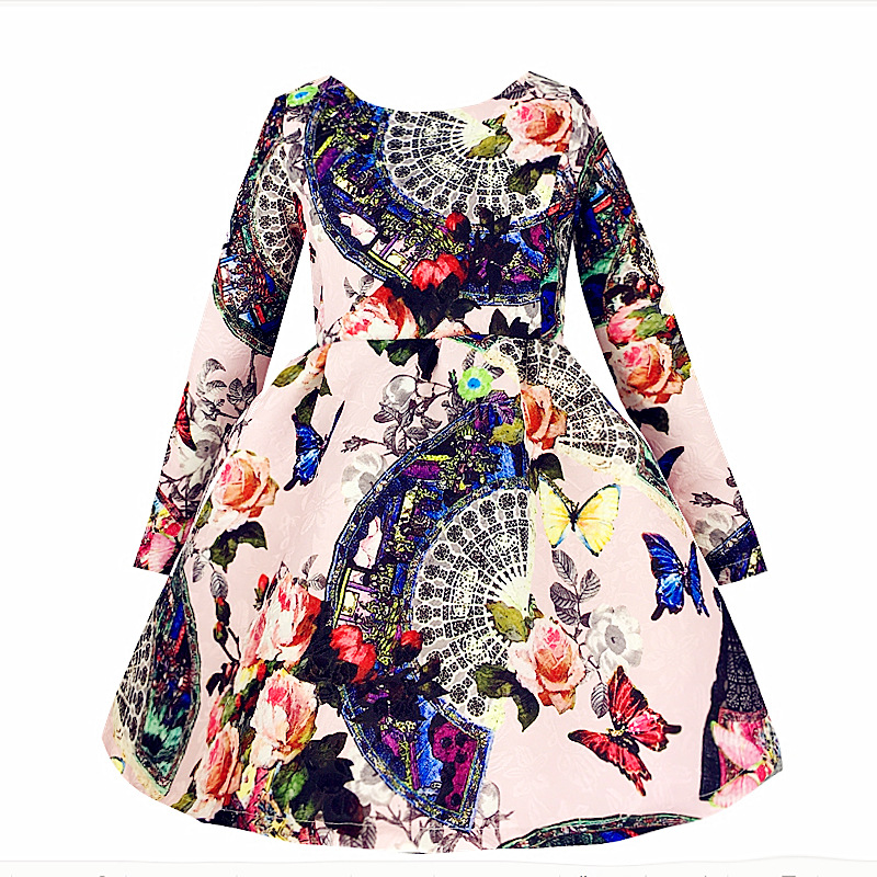 fb8d58b733f0 Girls Dress New Design Printed Christmas Princess Clothes Long ...