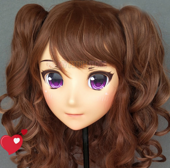(Lanmei-03)Female Sweet Girl Resin Half Head Kigurumi Crossdress Cosplay Japanese Anime Role Lolita Doll Mask  With Eyes And Wig