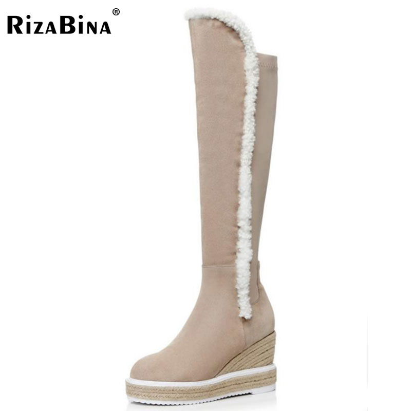 RizaBina Women Real Leather High Heel Boots Ladies Wedges Lace Up Knee High Boots Winter Short Plush Warm Botas Size 34-39 camel women s pump 2015 new fashion leather winter short boots size zipper lace up elegant women s high heel boots pumpa54194612
