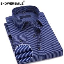 SHOWERSMILE Men Brand Formal Shirts Cotton Navy Blue Dress Shirt Male Stripe Business Long Sleeve Spring Autumn Clothing