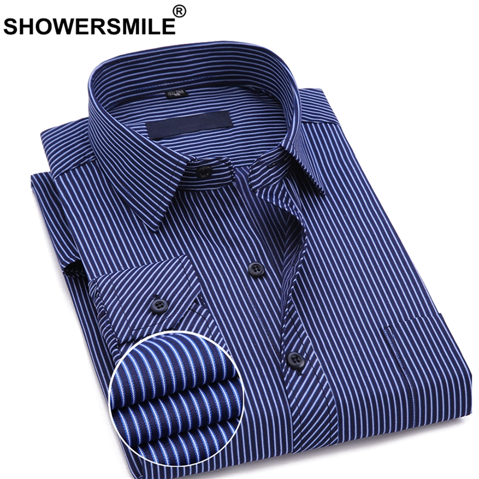 SHOWERSMILE Men Brand Formal Shirts Cotton Navy Blue Dress