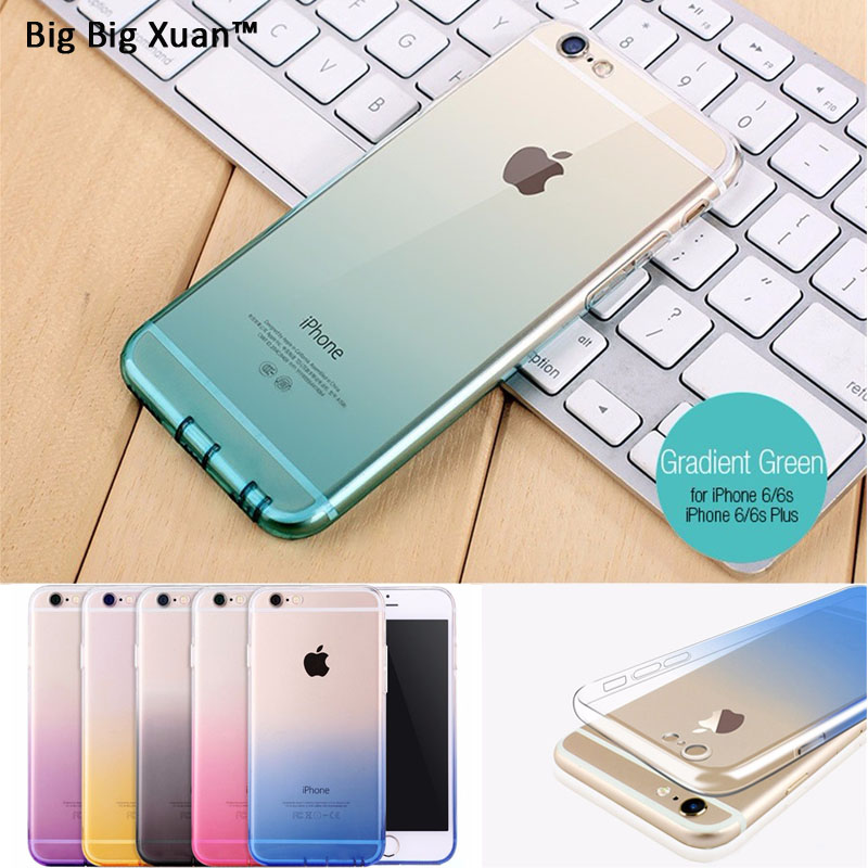 Cell Phone Fundas For iPhone 6 6s Plus 5 5s SE Colorful Gradient Transparent TPU Silicon Phone Covers Capa Para Ultra Thin 2016