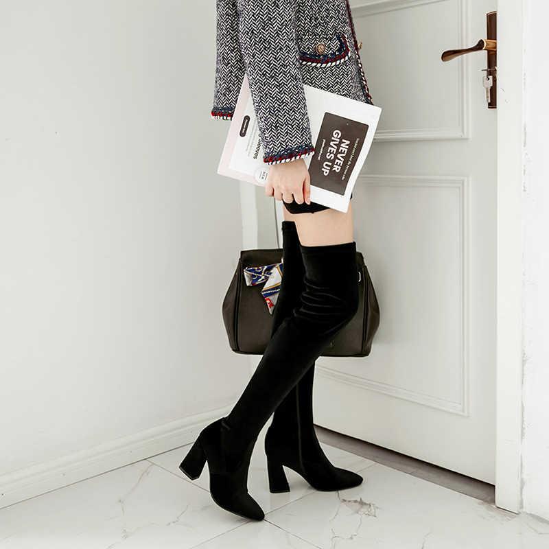 Kadın Kadife Çizmeler Moda Yan Fermuar Diz üzerinde Çizmeler Yüksek Topuklu Kadın Uyluk Yüksek Çizmeler Sonbahar Ayakkabı Artı boyutu 43