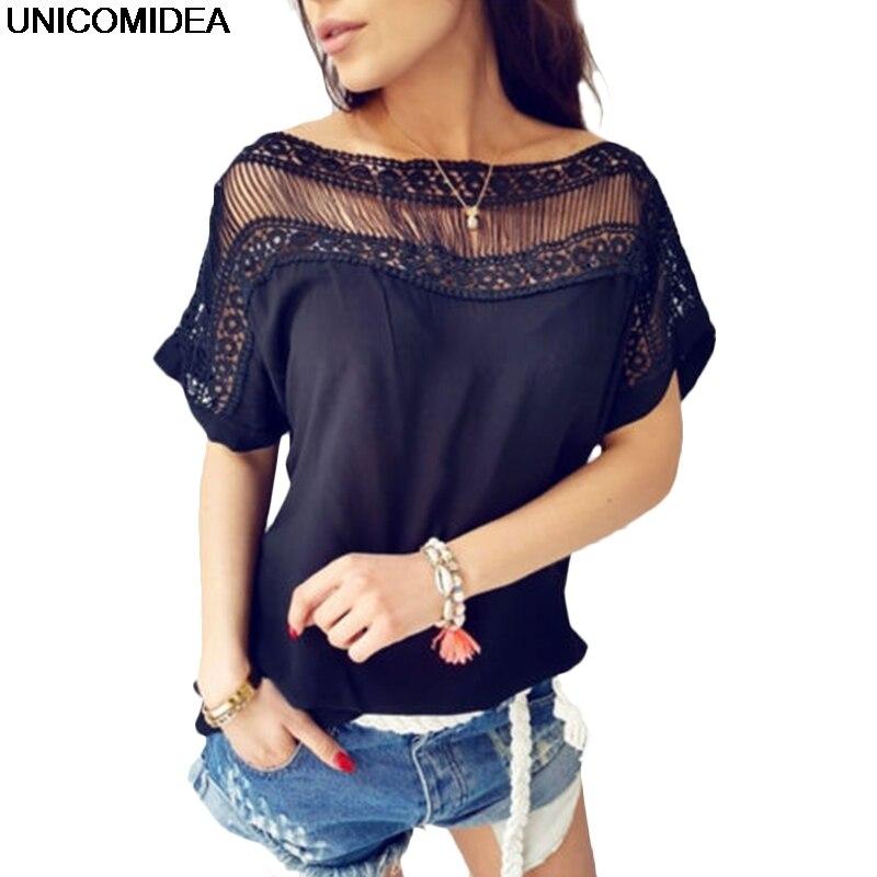Lace   Blouse   2019 Women   Blouses     Shirts   Elegant Short Sleeve Tops Summer Women Casual   Blouse     Shirt   Chemise Femme Ladies Tops