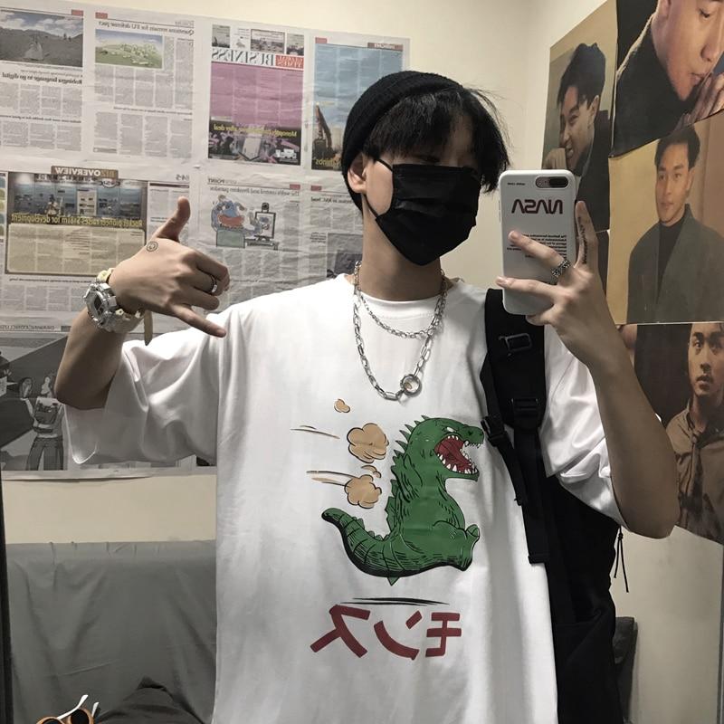 Half Sleeve Japan Kawaii Top 2019 Fashion Hip Hop Oversized Streetwear Clothes Cartoon Dinosaur Print Funny Summer Man T Shirt