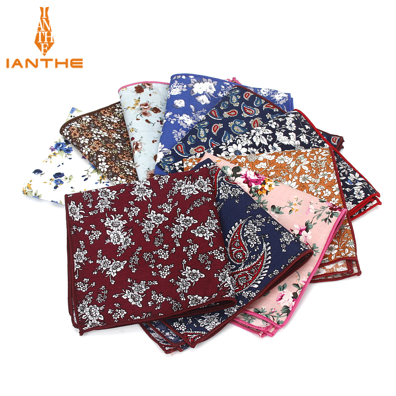 2018 Brand New Style Hankerchief Scarves Vintage Cotton Pocket Hankies Men's Pocket Square Handkerchief Flower Paisley Hanky