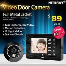 Sensitive motion detectar digital mirilla espectador de la puerta cámara de grabación de vídeo timbre de la puerta para la puerta de acceso seucity