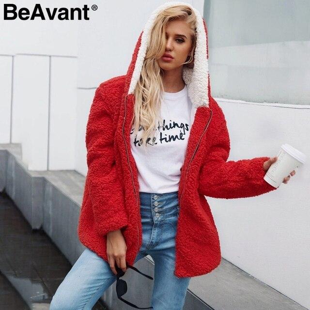 a15e934a14c9f BeAvant Hooded faux fur coat women 2018 Causal teddy bear jacket overcoat  plus size Zipper warm