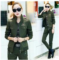 2017 Women Spring Autumn Camouflage Suits Casual Army Green Baseball Jacket And Full Length Pants Female