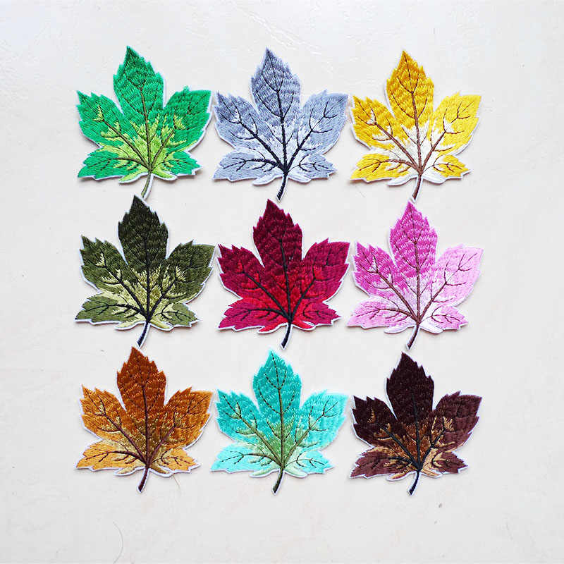 1Pcs Heat Transfers Maple Leaf Applique Embroidered Badge Iron On Patches for T-shirt Clothes Sewing Craft DIY Dress Application