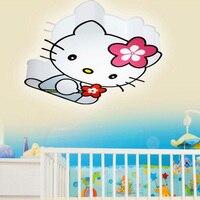 Современные светодиодные рисунок «Hello Kitty» Cat Потолочные светильники приспособление милые Обувь для девочек Спальня потолок Лампы для мото