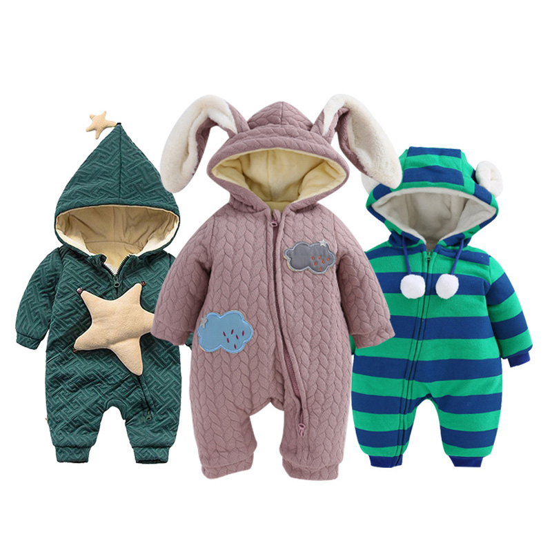 Autumn Winter Baby Rompers fleece Hoodies baby girls boys Jumpsuit  newborn toddle clothing Cotton-padded Overalls kids ropa baby hoodies newborn rompers boys clothes for autumn hooded romper cotton jumpsuit child kids costumes girls clothing