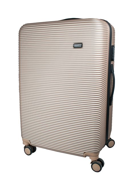 [Available from 10.11] Good beige suitcase PROFFI TRAVEL PH8862 L large plastic with built-in weights on wheels