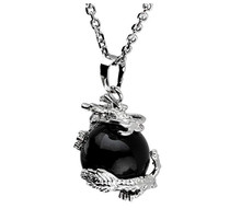 FYJS Unique Jewelry Silver Plated Chinese Dragon Wrap Black Agates Ball Bead Pendant Link Chain Necklace