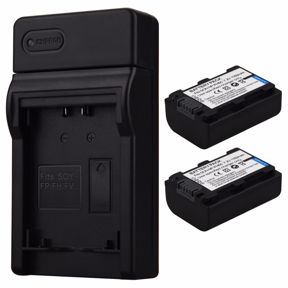 2PCS 1150mAh NP-FH50 NP FH50 NPFH50 Digital Camera Replacement Battery + USB Charger for Sony NP-FH50 Rechargeable Bateria