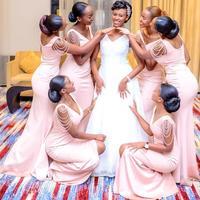 Vestido Madrinha African Sexy V Neck Mermaid Pink Bridemaid Dresses Sleeveless Prom Dresses Wedding Guest Dresses