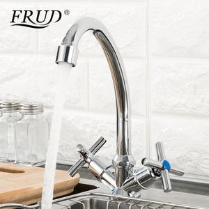 Image 2 - Dolandırıcılık yeni varış sıcaklık ayarlı mutfak musluğu çift kolu tek delik lavabo musluğu soğuk ve sıcak su mutfak musluk bataryası R40112