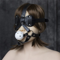 Black Leather Blindfold Harness and Ball Gag Mask Bondage ,Leather Muzzle ,Cosplay Role Play Costume, BDSM Bondage Device
