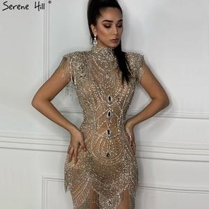 Image 2 - Dubai Gold Hoge Kraag Luxe Avondjurken 2020 Mouwloze Diamant Kralen Kwastje Sexy Avondjurken Serene Hill LA60893