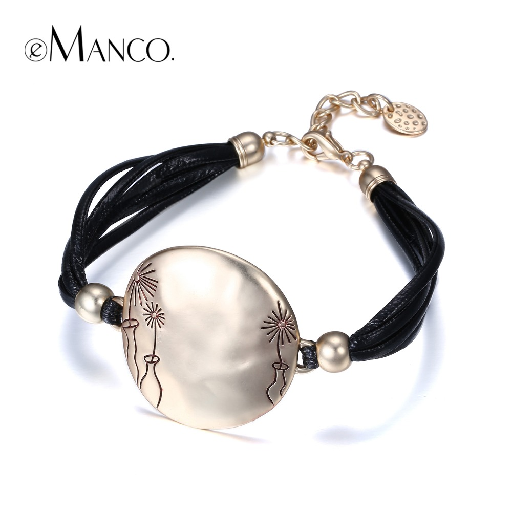 eManco Simple Multi-Layers Vintage Cameo Style Stylish Bracelets & Bangles for Women Rope Chain Alloy Jewelry & Accessories