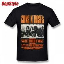 Vintage Guns N Roses T-shirt For Men Short Sleeve Cotton Plus Size Custom Tee