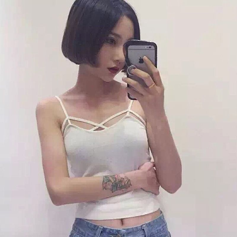 Strap Built In Bra Padded Bra Modal Tank Top Camisole Camis 2018 New Summer Casual Basic Shirt Women Tops White Black