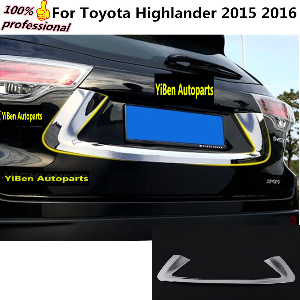 Car styling cover detector sticker ABS Chromium Rear license frame Chrome trim Strips 1pcs for Toyota Highlander 2015 2016  high quality car styling cover detector abs chromium tail back rear license frame plate trim strips 1pcs for su6aru outback 2015