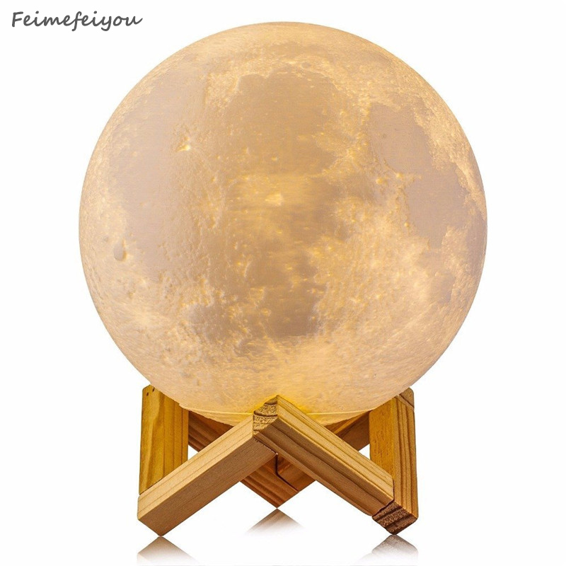 Feimefeiyou 15cm Rechargeable Moon Lamp 3 Color Change Touch Switch Bedroom Bookcase Night Light Home Decor Creative Gift