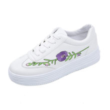 2017 New Fashion Spring And Autumn Embroidery  White Women's Shoes Thick Bottom All-purpose Style Creepers Female Casual Shoes