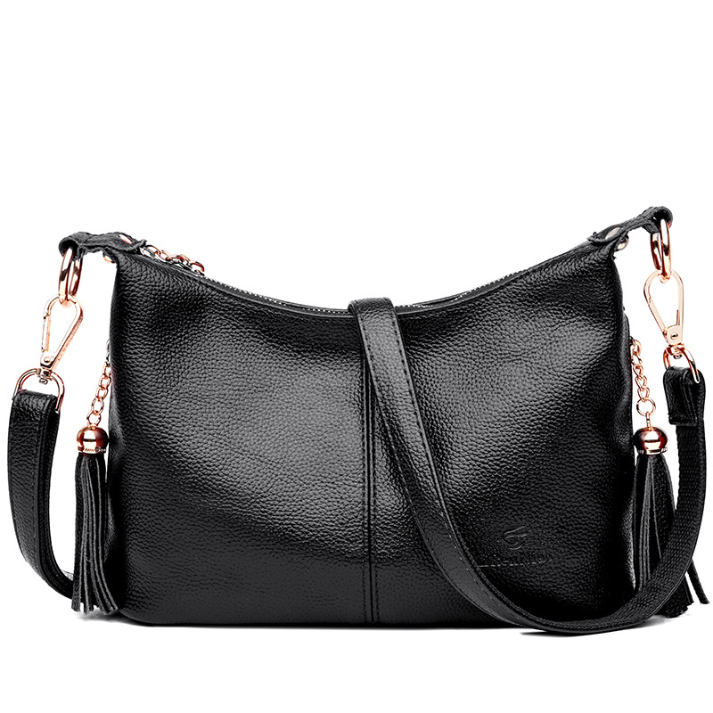 High Quality Genuine Leather Women's Handbags Cowhide Tassel Shoulder CrossBody Bag Ladies Messenger Bags Women Tote Bags women bags high grade genuine leather handbags vintage women messenger bag with tassel lady shoulder crossbody tote bags louis
