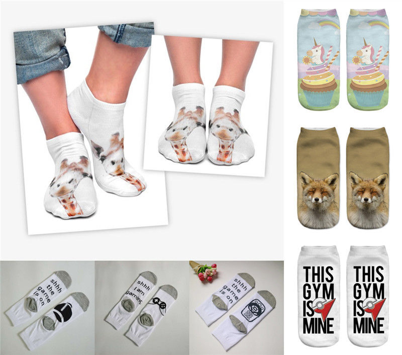 Hot Cute 3D Animals Printed Women Socks Unisex Cotton Letter Low Cut Ankle Socks 1 Pair 7 Styles
