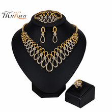 MUKUN NEW Fashion Big Nigerian Wedding African Beads Jewelry Sets Crystal Dubai Gold Color Jewelry Sets For Women Costume Design indian wedding african crystal beads jewelry sets costume nigerian beads jewelry sets fashionable free shipping aej908