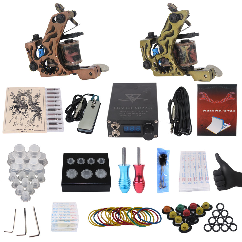 GUCCTA Professional Complete Tattoo Kit 2 Top Machine Gun 50 mix ink cup 10 Needle Power Supply tattoo machine set kit tatuagem high quality lihua 5kw three phase avr for vtx5500 3 5 5 kw gasoline three phase generator 3 phase automatic voltage regulator