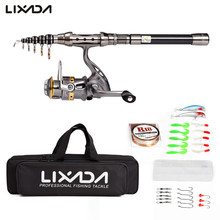 Lixada Reel Combo Lures-Hooks Line Telescopic Fishing-Rod-Gear Spinning-Reel with Bag