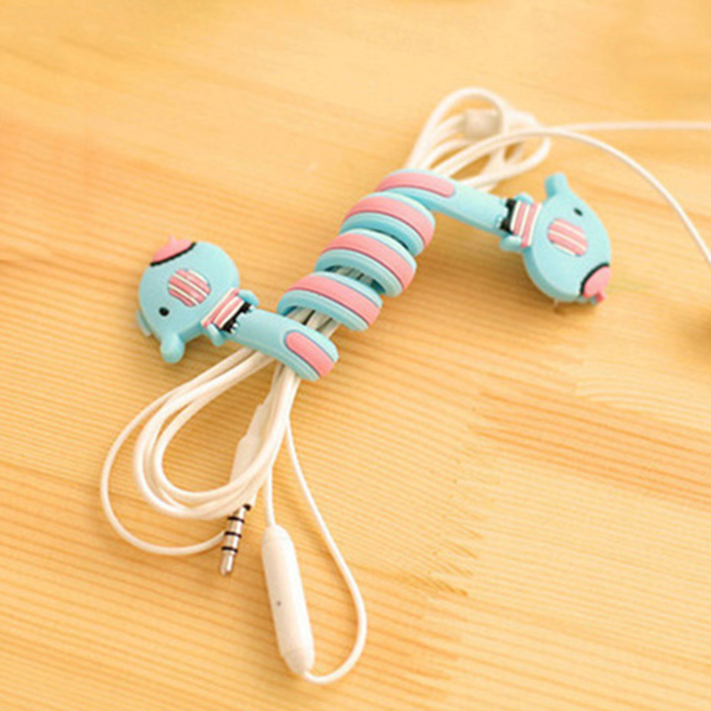 FFFAS Cartoon Earphone font b Cable b font Winder Protector Wire Cord De Cabo Organizer for
